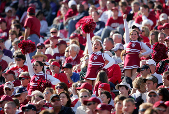 BLOOMINGTON, IN - NOVEMBER 3:  The Indiana Hoosiers cheerleaders lead cheers in the crowd during the game against the Ball State Cardinals at Memorial Stadium November 3, 2007 in Bloomington, Indiana.  (Photo by Andy Lyons/Getty Images)
