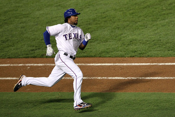 ARLINGTON, TX - OCTOBER 22:  Elvis Andrus #1 of the Texas Rangers runs to first base after hitting a double against the New York Yankees in the first inning of Game Six of the ALCS during the 2010 MLB Playoffs at Rangers Ballpark in Arlington on October 2