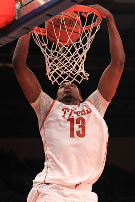 NEW YORK - NOVEMBER 19: Tristan Thompson #13 of the Texas Longhorns slam dunks against the Pittsburgh Panthers during the Championship game of the 2k Sports Classic at Madison Square Garden on November 19, 2010 in New York, New York.  (Photo by Chris McGr