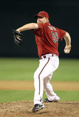 PHOENIX - AUGUST 04:  Relief pitcher Blaine Boyer #55 of the Arizona Diamondbacks pitches against  the Washington Nationals during the Major League Baseball game at Chase Field on August 4, 2010 in Phoenix, Arizona.  (Photo by Christian Petersen/Getty Ima