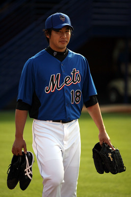 PORT ST. LUCIE, FL - FEBRUARY 17: Pitcher Ryota Igarashi #18 of the New York Mets works out during spring training at Tradition Field on February 17, 2011 in Port St. Lucie, Florida.  (Photo by Marc Serota/Getty Images)