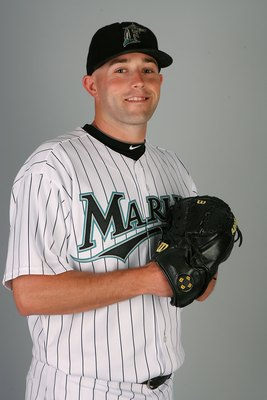 JUPITER, FL - MARCH 02:  Pitcher Taylor Tankersley #57 of the Florida Marlins poses during photo day at Roger Dean Stadium on March 2, 2010 in Jupiter, Florida.  (Photo by Doug Benc/Getty Images)