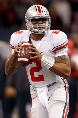 NEW ORLEANS, LA - JANUARY 04:  Quarterback Terrelle Pryor #2 of the Ohio State Buckeyes looks to pass against the Arkansas Razorbacks during the Allstate Sugar Bowl at the Louisiana Superdome on January 4, 2011 in New Orleans, Louisiana.  (Photo by Matthe