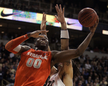 PITTSBURGH, PA - JANUARY 17:  Rick Jackson #0 of the Syracuse Orange attempts a lay up aainst the Pittsburgh Panthers at Petersen Events Center on January 17, 2011 in Pittsburgh, Pennsylvania.  (Photo by Justin K. Aller/Getty Images)