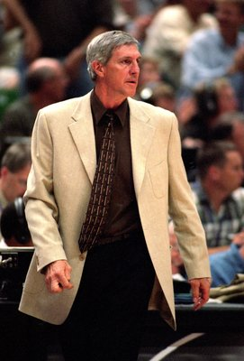 5 May 2000:  Coach Jerry Sloan of the Utah Jazz reacts to the action during the NBA Western Conference Playoffs Round One Game against the Seattle SuperSonics at the Delta Center in Salt Lake City, Utah. The Jazz defeated the SuperSonics 96-93.  NOTE TO U