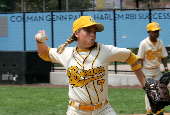 NEW YORK - JULY 19:  Actress Sammi Kane Kraft pitches during a scrimmage as the 'Bad News Bears' visit Harlem little leaguers at the Harlem RBI Field July 19, 2005 in New York City.  (Photo by Paul Hawthorne/Getty Images)