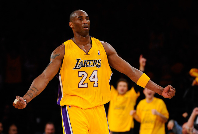 LOS ANGELES, CA - MAY 02:  Kobe Bryant #24 of the Los Angeles Lakers reacts after making a three-pointer in the third quarter while taking on the Dallas Mavericks in Game One of the Western Conference Semifinals in the 2011 NBA Playoffs at Staples Center