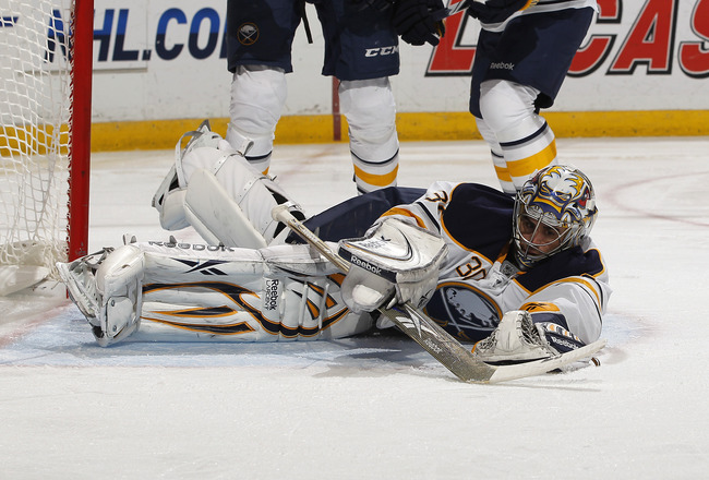 SUNRISE, FL - DECEMBER 17: Goaltender Ryan Miller #30 of the Buffalo Sabres makes a save against the Florida Panthers on December 17, 2010 at the BankAtlantic Center in Sunrise, Florida. The Panthers defeated the Sabres 6-2. (Photo by Joel Auerbach/Getty