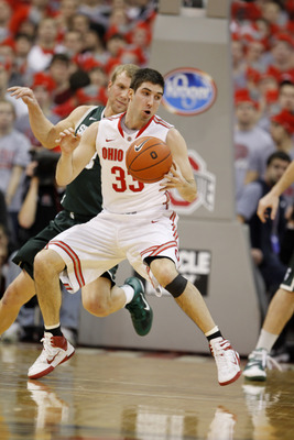 COLUMBUS, OH - FEBRUARY 15:  Jon Diebler #33 of the Ohio State Buckeyes controls the ball while playing the Michigan State Spartans on February 15, 2011 at Value City Arena in Columbus, Ohio.  (Photo by Gregory Shamus/Getty Images)
