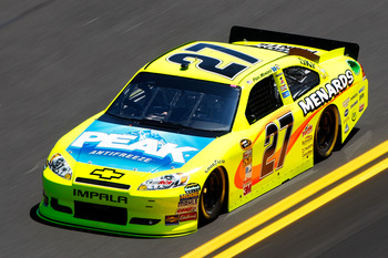 DAYTONA BEACH, FL - FEBRUARY 12:  Paul Menard, driver of the #27 Menards Chevrolet, practices for the NASCAR Sprint Cup Series Daytona 500 at Daytona International Speedway on February 12, 2011 in Daytona Beach, Florida.  (Photo by Chris Graythen/Getty Im