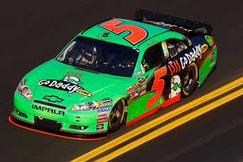 DAYTONA BEACH, FL - FEBRUARY 11:  Mark Martin drives the #5 GoDaddy.com Chevrolet during practice for the NASCAR Budweiser Shootout at Daytona International Speedway on February 11, 2011 in Daytona Beach, Florida.  (Photo by Chris Graythen/Getty Images fo