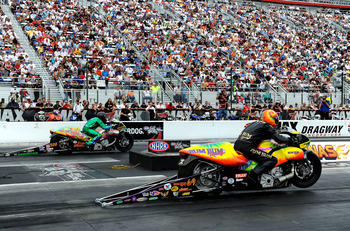 CONCORD, NC - SEPTEMBER 20:  A general view of the starting area as two pro stock bikes leave the line during the NHRA Carolinas Nationals on September 20, 2009 at Zmax Dragway in Concord, North Carolina.  (Photo by Rusty Jarrett/Getty Images)