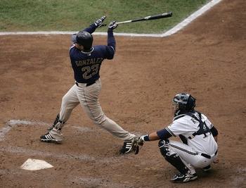 MILWAUKEE - SEPTEMBER 29: Adrian Gonzales #23 of the San Diego Padres hits his 28th home run of the season in the 6th inning against the Milwaukee Brewers on September 29, 2007 at Miller Park in Milwaukee, Wisconsin. The Brewers defeated the Padres 4-3 in