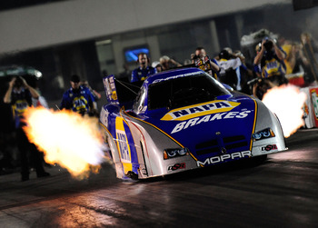 CONCORD, NC - SEPTEMBER 17:  Ron Capps, drives the NAPA Funny Car at zMax Dragway on September 17, 2010 in Concord, North Carolina.  (Photo by Rusty Jarrett/Getty Images)