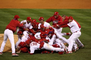 PHILADELPHIA - OCTOBER 29:  The Philadelphia Phillies celebrate their 4-3 win against the Tampa Bay Rays during the continuation of game five of the 2008 MLB World Series on October 29, 2008 at Citizens Bank Park in Philadelphia, Pennsylvania.  (Photo by