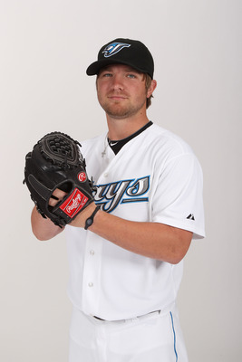 DUNEDIN, FL - FEBRUARY 20:  Kyle Drabek #4 of the Toronto Blue Jays poses during photo day at Florida Auto Exchange Stadium on February 20, 2011 in Dunedin, Florida.  (Photo by Nick Laham/Getty Images)