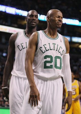 BOSTON, MA - FEBRUARY 10:  Ray Allen #20 of the Boston Celtics reacts after he is called for a foul in the second half against the Los Angeles Lakers on February 10, 2011 at the TD Garden in Boston, Massachusetts.  The Lakers defeated the Celtics 92-86. N