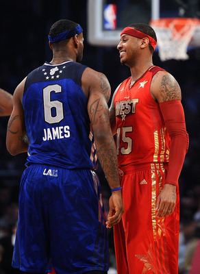 LOS ANGELES, CA - FEBRUARY 20:  LeBron James #6 of the Miami Heat and the Eastern Conference talks with Carmelo Anthony #15 of the Denver Nuggets and the Western Conference in the 2011 NBA All-Star Game at Staples Center on February 20, 2011 in Los Angele