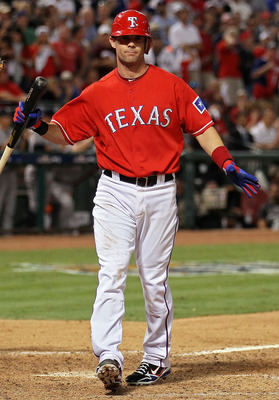 ARLINGTON, TX - OCTOBER 15:  Michael Young #10 of the Texas Rangers reacts after striking out against of the New York Yankees in the ninth inning in Game One of the ALCS during the 2010 MLB Playoffs at Rangers Ballpark in Arlington on October 15, 2010 in