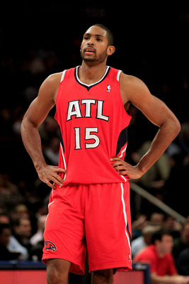 NEW YORK, NY - FEBRUARY 16:  Al Horford #15 of the Atlanta Hawks on the court against the New York Knicks at Madison Square Garden on February 16, 2011 in New York City. NOTE TO USER: User expressly acknowledges and agrees that, by downloading and/or usin