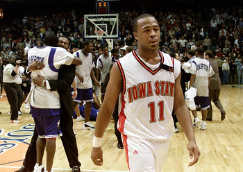 15 Mar 2001:  Jamaal  Tinsley #11 of the Iowa State Cyclones walks off the court after the Hampton Pirates won 58-57 during the first round of the NCAA Tournament at the Boise State University Pavilion in Boise, Idaho.  <DIGITAL IMAGE>  Mandatory Credit: