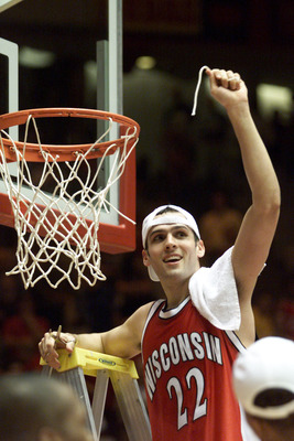 25 Mar 2000:  Mike Kelley #22 of wisconsin celebrates after cutting his piece of the net after Wisconsin beat Purdue 64-60 during the Men''s NCAA West Regional Championship at The Pit in Albuquerque, New Mexico.  <<DIGITAL IMAGE>> Mandatory Credit: Jed Ja