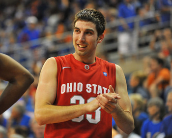 GAINESVILLE, FL - NOVEMBER 16: Guard Jon Diebler #33 of the Ohio State Buckeyes celebrates a victory against the Florida Gators November 16, 2010 at the Stephen C. O'Connell Center in Gainesville, Florida.  (Photo by Al Messerschmidt/Getty Images)