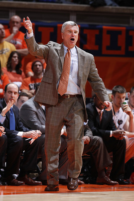 CHAMPAIGN, IL - FEBRUARY 13: Head coach Bruce Weber of the Illinois Fighting Illini argues with a call during the game against the Purdue Boilermakers at Assembly Hall on February 13, 2011 in Champaign, Illinois. Purdue defeated Illinois 81-70. (Photo by