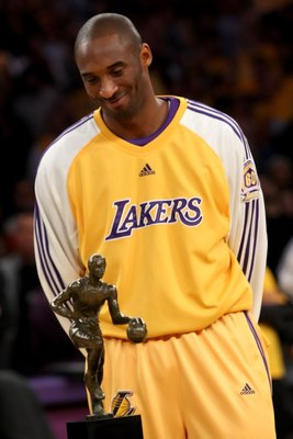 LOS ANGELES, CA - MAY 07:  Kobe Bryant #24 of the Los Angeles Lakers smiles before receiving the MVP Trophy before the start of Game Two of the Western Conference Semifinals against the Utah Jazz during the 2008 NBA Playoffs on May 7, 2008 at Staples Cent