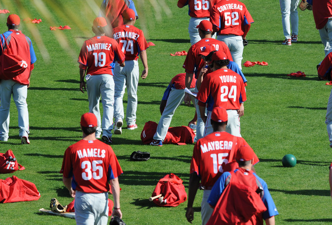 CLEARWATER, FL - FEBRUARY 19:  Players of the Philadelphia Phillies take the field before a spring training workout February 19, 2011 the Carpenter Complex at Bright House Field in Clearwater, Florida. (Photo by Al Messerschmidt/Getty Images)