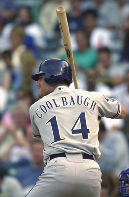 CHICAGO - AUGUST 28:  Third Baseman Mike Coolbaugh #14 of the Milwaukee Brewers readies at the plate against the Chicago Cubs on August 28, 2001 at Wrigley Field in Chicago, Illinois.  The Brewers defeated the Cubs 8-1.  (Photo by Jonathan Daniel/Getty Im