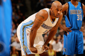 DENVER, CO - FEBRUARY 10:  Chauncey Billups #1 of the Denver Nuggets looks on during a break in the action as he had 22 first half points against the Dallas Mavericks during NBA action at the Pepsi Center on February 10, 2011 in Denver, Colorado. NOTE TO