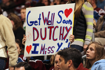 DENVER, CO - FEBRUARY 16:  A fan holds up a sign in support of Matt Duchene #9 of the Colorado Avalanche as he was place on injured reserve against  the Pittsburgh Penguins at the Pepsi Center on February 16, 2011 in Denver, Colorado. The Penguins defeate