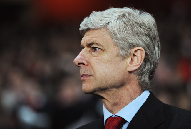 LONDON, ENGLAND - FEBRUARY 16: Arsene Wenger, Manager of Arsenal looks on during the UEFA Champions League round of 16 first leg match between Arsenal and Barcelona at the Emirates Stadium on February 16, 2011 in London, England.  (Photo by Jasper Juinen/