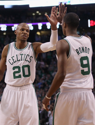 BOSTON, MA - FEBRUARY 10:  Ray Allen #20 of the Boston Celtics celebrates with Rajon Rondo #9 in the first half against the Los Angeles Lakers on February 10, 2011 at the TD Garden in Boston, Massachusetts.  NOTE TO USER: User expressly acknowledges and a