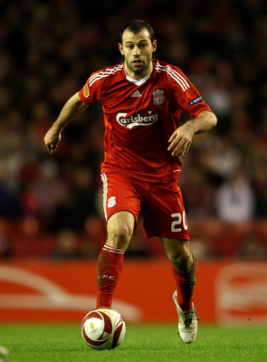 LIVERPOOL, ENGLAND - FEBRUARY 18:  Javier Mascherano of Liverpool in action during the UEFA Europa League Round 32 first leg match between Liverpool and Unirea Urzicen at Anfield on February 18, 2010 in Liverpool, England.  (Photo by Clive Brunskill/Getty