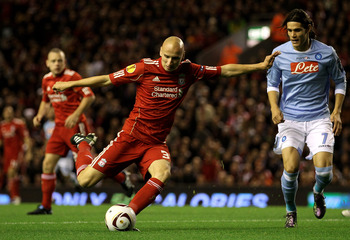 LIVERPOOL, ENGLAND - NOVEMBER 04:  Jonjo Shelvey of Liverpool shoots at goal during the UEFA Europa League Group K match beteween Liverpool and SSC Napoli at Anfield on November 4, 2010 in Liverpool, England.  (Photo by Clive Brunskill/Getty Images)