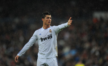 MADRID, SPAIN - FEBRUARY 19:  Cristiano Ronaldo of Real Madrid reacts during the  La Liga match between Real Madrid and Levante at Estadio Santiago Bernabeu on February 19, 2011 in Madrid, Spain.  (Photo by Denis Doyle/Getty Images)