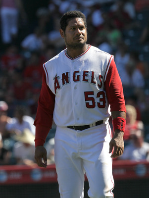 ANAHEIM, CA - SEPTEMBER 26:  Bobby Abreu #53 of the Los Angeles Angels of Anaheim reacts after his check swing was ruled strike three for the final out of the seventh inning with a runner on  second against the Chicago White Sox on September 26, 2010 at A