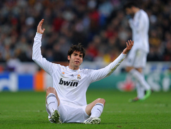 MADRID, SPAIN - MARCH 10:  Kaka of Real Madrid reacts during the UEFA Champions League round of 16 second leg match between Real Madrid and Lyon at the Estadio Santiago Bernabeu on March 10, 2010 in Madrid, Spain.  (Photo by Jasper Juinen/Getty Images)