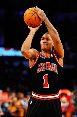 LOS ANGELES, CA - FEBRUARY 19:  Derrick Rose #1 of the Chicago Bulls competes in the Taco Bell Skills Challenge apart of NBA All-Star Saturday Night at Staples Center on February 19, 2011 in Los Angeles, California.  (Photo by Kevork Djansezian/Getty Imag
