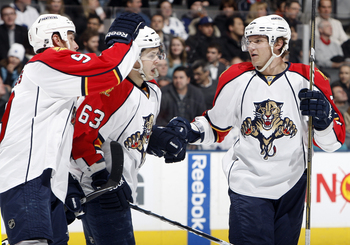 TORONTO, CANADA - FEBRUARY 1:  Stephen Weiss #9, Evgeni Dadonov #63 and  Dmitry Kulikov #7 of the Florida Panthers celebrate goal against the Toronto Maple Leafs during game action at the Air Canada Centre February 1, 2011 in Toronto, Ontario, Canada. (Ph