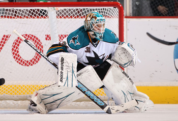 GLENDALE, AZ - JANUARY 17:  Goaltender Antti Niemi #31 of the San Jose Sharks in action during the NHL game against the Phoenix Coyotes at Jobing.com Arena on January 17, 2011 in Glendale, Arizona.  The Sharks defeated the Coyotes 4-2.  (Photo by Christia