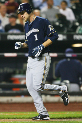 NEW YORK - SEPTEMBER 28:  Corey Hart #1 of the Milwaukee Brewers runs in a home run in the sixth inning against the New York Mets on September 28, 2010 at Citi Field in the Flushing neighborhood of the Queens borough of New York City.  (Photo by Andrew Bu