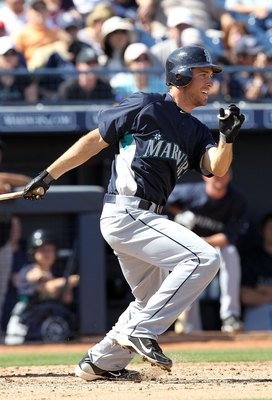 PEORIA, AZ - MARCH 06:  Dustin Ackley #75 of the Seattle Mariners bats against the San Diego Padres during the MLB spring training game at Peoria Stadium on March 6, 2010 in Peoria, Arizona. The Mariners defeated the Padres 7-4.  (Photo by Christian Peter