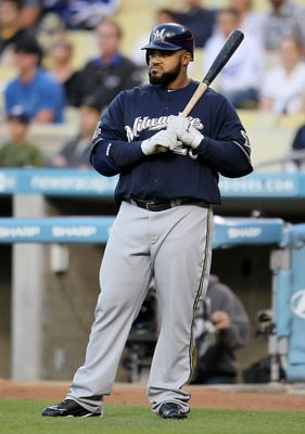 LOS ANGELES, CA - MAY 06:  Prince Fielder #28 of the Milwaukee Brewers waits to bat in the first inning against the Los Angeles Dodgers at Dodger Stadium on May 6, 2010 in Los Angeles, California.  The Dodgers defeated the Brewers 7-3.  (Photo by Jeff Gro