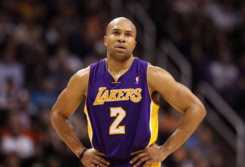 PHOENIX, AZ - JANUARY 05:  Derek Fisher #2 of the Los Angeles Lakers during the NBA game against the Phoenix Suns at US Airways Center on December 23, 2011 in Phoenix, Arizona. The Lakers defeated the Suns 99-95.  NOTE TO USER: User expressly acknowledges