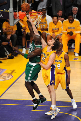 LOS ANGELES, CA - JUNE 17:  Kevin Garnett #5 of the Boston Celtics has his shot blocked by Pau Gasol #16 of the Los Angeles Lakers in the third quarter of Game Seven of the 2010 NBA Finals at Staples Center on June 17, 2010 in Los Angeles, California.  NO