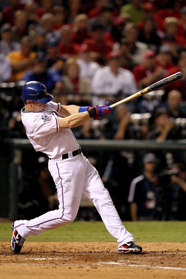 ARLINGTON, TX - NOVEMBER 01:  Michael Young #10 of the Texas Rangers bats against the San Francisco Giants in Game Five of the 2010 MLB World Series at Rangers Ballpark in Arlington on November 1, 2010 in Arlington, Texas.  (Photo by Ronald Martinez/Getty