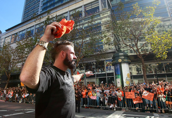SAN FRANCISCO - NOVEMBER 03:  Brian Wilson of the San Francisco Giants celebrates during the Giants' victory parade on November 3, 2010 in San Francisco, California. Thousands of Giants fans lined the streets of San Francisco to watch the San Francisco Gi